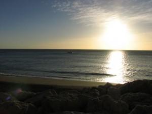 Atardecer en Torremolinos en la playa de La Roca...